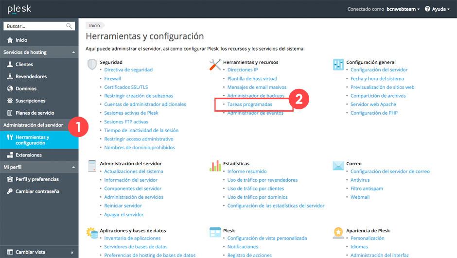 Programar tareas Cron en Linux desde Plesk | bcnwebteam